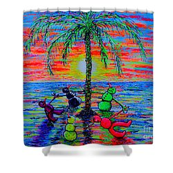 Shower Curtain featuring the painting Dancing Snowman by Viktor Lazarev