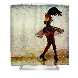 Dancing The Past Away - Ballerina Shower Curtain by Sir Josef - Social Critic -  Maha Art