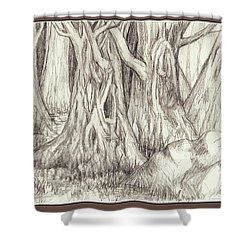 Dancing Trees Shower Curtain by Ruth Renshaw