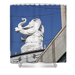 Dancing White Elephant Shower Curtain