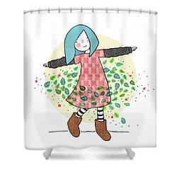 Dancing With Leaves Shower Curtain by Carolina Parada