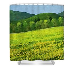 Shower Curtain featuring the painting Dandelion Bloom by Frank Wilson