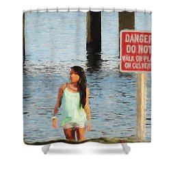 Danger Shower Curtain