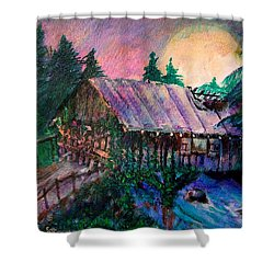 Shower Curtain featuring the painting Dangerous Bridge by Seth Weaver