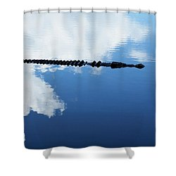 Shower Curtain featuring the photograph Dangerous Reflection Saltwater Crocodile by Gary Crockett