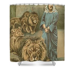 Daniel In The Lions Den Shower Curtain by John Lawson