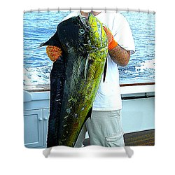 Danny Caught A Huge Dolphin Fish Shower Curtain