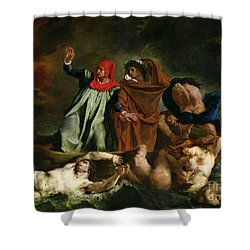 Dante And Virgil In The Underworld Shower Curtain by Ferdinand Victor Eugene Delacroix