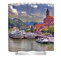 Danube At Passau Shower Curtain by Dennis Cox WorldViews