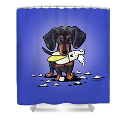 Dapple Doxie Destroyer Shower Curtain by Kim Niles