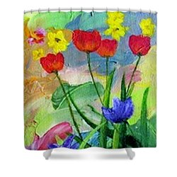 Shower Curtain featuring the painting Daria's Flowers by Jamie Frier