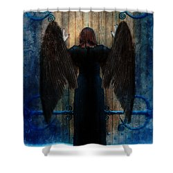 Dark Angel At Church Doors Shower Curtain