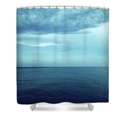 Dark Blue Sea And Stormy Clouds Shower Curtain