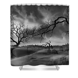 Dark Cemetary Shower Curtain by James Christopher Hill