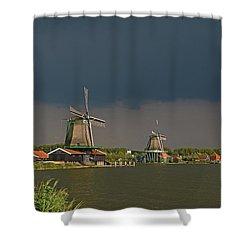 Dark Clouds Above Zaanse Schans Shower Curtain