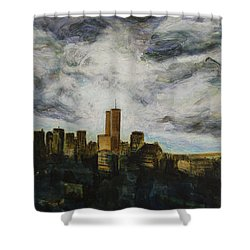 Shower Curtain featuring the painting Dark Clouds Approaching by Ron Richard Baviello