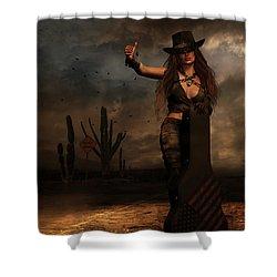 Shower Curtain featuring the digital art Dark Desert Highway by Shanina Conway