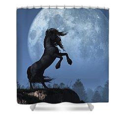 Shower Curtain featuring the digital art Dark Horse And Full Moon by Daniel Eskridge