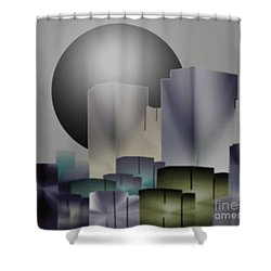 Shower Curtain featuring the digital art Dark Moon Over The City by John Krakora