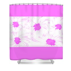 'dark Pink And White Flower Abstract' Shower Curtain