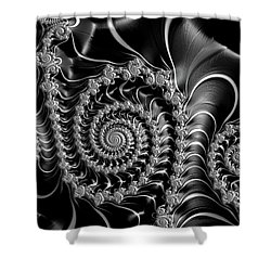 Dark Spirals - Fractal Art Black Gray White Shower Curtain