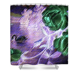 Dark Swan And Roses Shower Curtain
