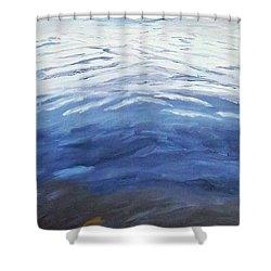 Dark Water, White Wave Shower Curtain