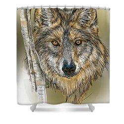 Shower Curtain featuring the digital art Dark Wolf With Birch by Darren Cannell