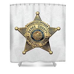 Shower Curtain featuring the digital art Darke County Municipal Court - Probation Officer Badge Over White Leather by Serge Averbukh