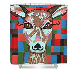 Shower Curtain featuring the painting Darling Deer by Kathleen Sartoris