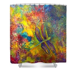 Darling Dragonfly Shower Curtain by Claire Bull