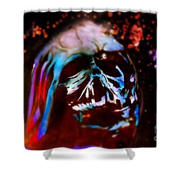 Darth Vader's Melted Helmet Shower Curtain by Justin Moore