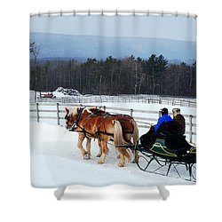Dashing Through The Snow Shower Curtain by James Kirkikis