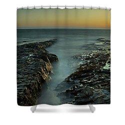Davenport Landing Beach At Golden Hour Shower Curtain