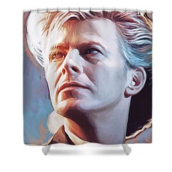 Shower Curtain featuring the painting David Bowie Artwork 2 by Sheraz A