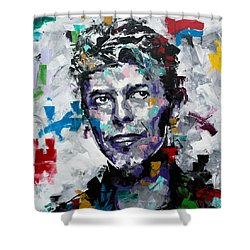 Shower Curtain featuring the painting David Bowie II by Richard Day