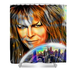 Shower Curtain featuring the mixed media David Bowie by Marvin Blaine