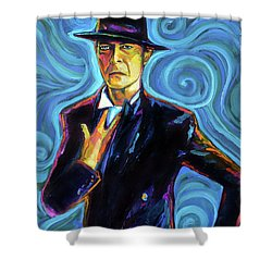 David Bowie Shower Curtain by Robert Phelps