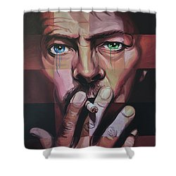 David Bowie Shower Curtain by Steve Hunter