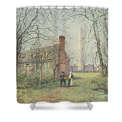 David Burns's Cottage And The Washington Monument, Washington Dc, 1892  Shower Curtain