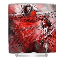 David Lee Roth And Eddie Van Halen Jump Shower Curtain by Miki De Goodaboom