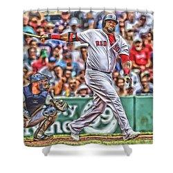 David Ortiz Boston Red Sox Oil Art 5 Shower Curtain