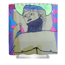 Shower Curtain featuring the painting David The Archangel by Don Koester