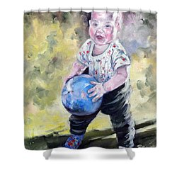 David With His Blue Ball Shower Curtain