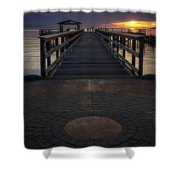 Davis Bay Pier Evening Light Shower Curtain