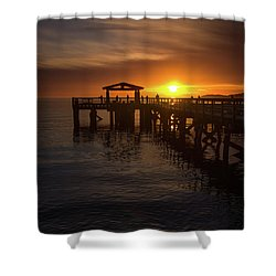 Davis Bay Pier Sunset 2 Shower Curtain