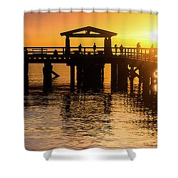 Davis Bay Pier Sunset 3 Shower Curtain