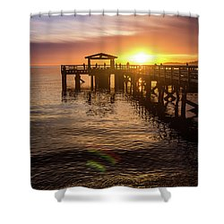 Davis Bay Pier Sunset 4 Shower Curtain