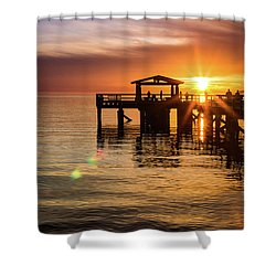 Davis Bay Pier Sunset 5 Shower Curtain