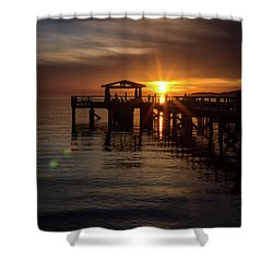 Davis Bay Pier Sunset Shower Curtain